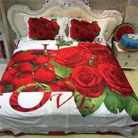 3D Red Rose Wedding Bedding Sets Queen Size Bedclothes Cotton Duvet Cover Bedsheet Pillowcase Romantic Valentine's Textile Sets