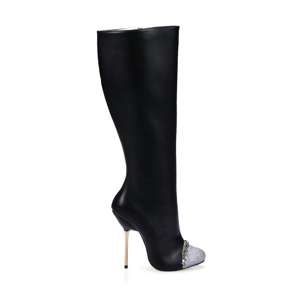 ФОТО 2017 newest fashion chain patchwork high heeled boots sexy metal stiletto heels knee high boots ladies elegant long boots shoes