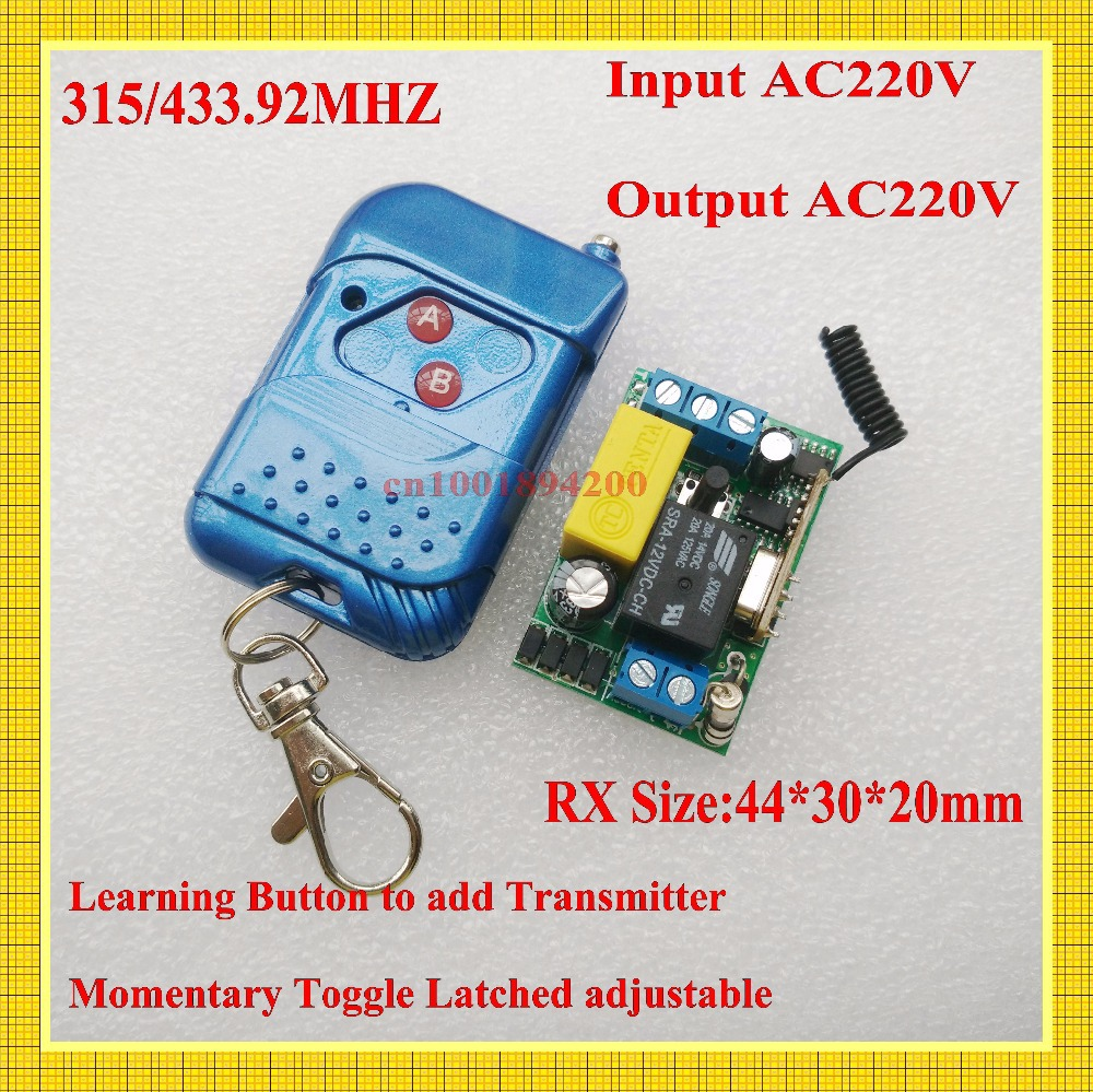 AC 220V 1 CH  Mini Remote Control Switches 10A Relay Small Receiver Light Lamp LED Bulb SMD Remote Lighting Switch 315/433 Learn small ac220v remote control switch long range transmitter receiver 200 3000m lamp light led remote lighting switch 315 433 92mhz