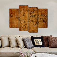 Wooden Board World Map Canvas Painting & Calligraphy Oil Poster  Prints Living Room House Wall Decor Art Home No Frame