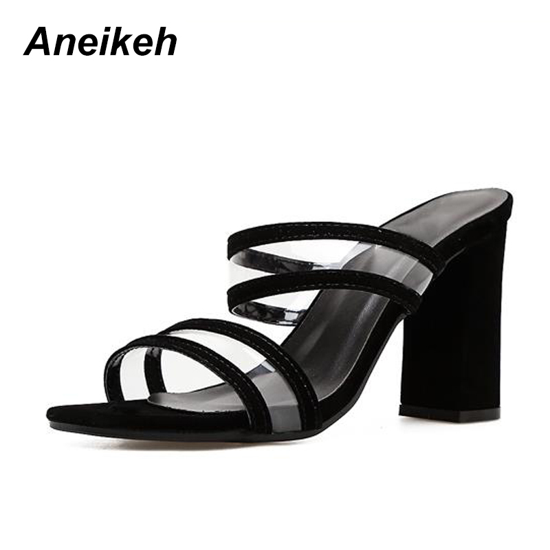 b3e9169da60 US $14.81 31% OFF|Aneikeh Summer Concsie Sandals Women Open Toe PVC Clear  Transparent High Heel Block Heels Mules Slides Shoes Flip Flop Size 4 9-in  ...