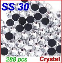 Promotion! SS30 288pcs/Bag Clear Crystal DMC HotFix FlatBack Rhinestones glass strass,DIY heat transfer Hot Fix crystals stones