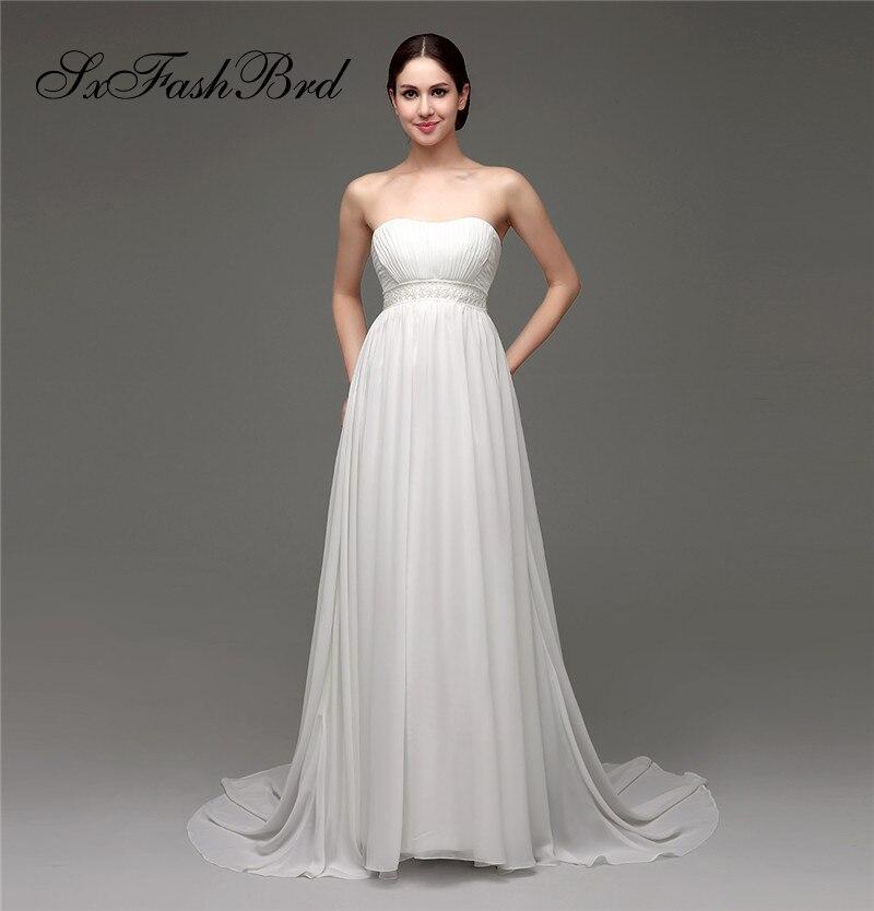 Robe De Mariage Ruffle Sweetheart A Line Waist With Beading Chiffon Long Bride Wedding Dresses For Women Vestido De Novia