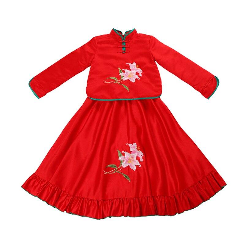 9705 Cheongpao hiver épais chaud rétro Cheongpao robe filles Tang princesse robes robe de noël fille vêtements de nouvel an