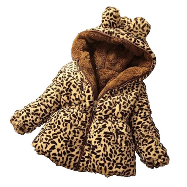 2019 Autumn Winter New Fashion Children 1-6 years Girl Coat Casual Jackets Girl's Hooded Kids Clothing Leopard Baby Warm Jacket