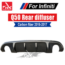 Q50 Carbon Fiber Rear Bumper Diffuser Lip Spoiler for Q50S rear diffuser AES-Style Tail 2015-in