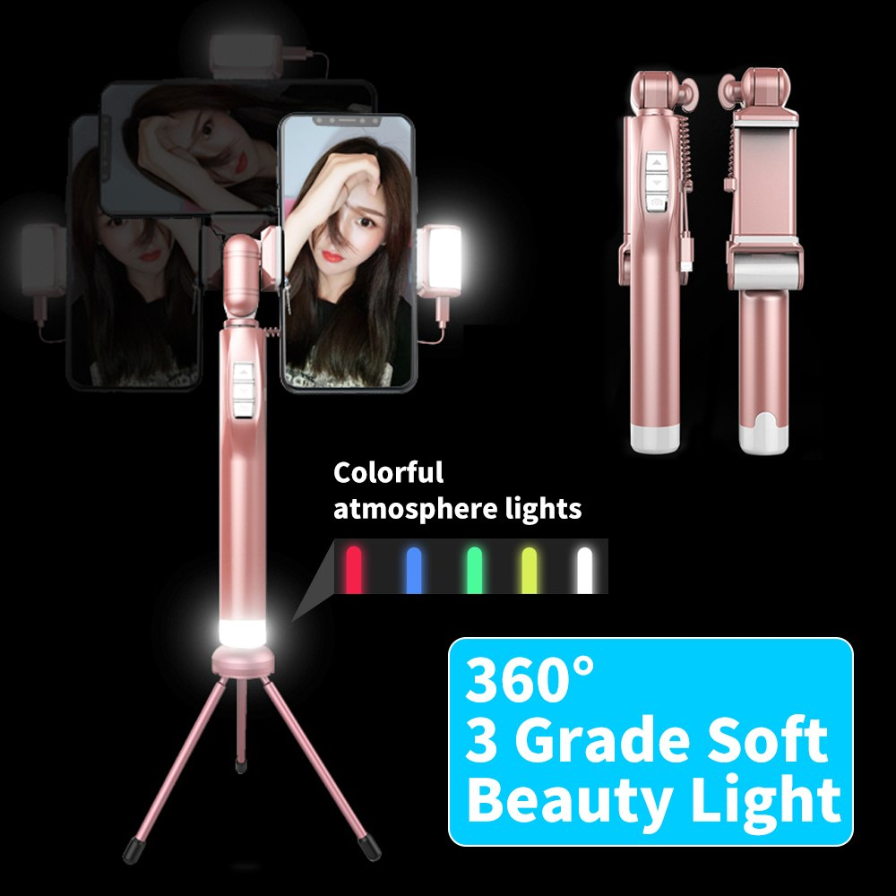 Fashion A8 Led Flash Fill Light Selfie Stick Lighting Bluetooth Monopod with Tripod controller for Iphone 5 6 7 8 X Sumsang led flash fill light selfie stick with rear mirror lighting bluetooth monopod for iphone x 8 samsung huawei xiaomi android phone