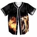 Leões com fogo botões homme casuais mens baseball jersey camisa 3d streetwear tees camisas marca clothing