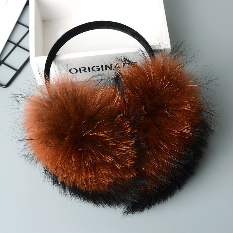Men's Accessories Men's Earmuffs Winter Women Warm Real Fox Earmuffs Girls Earlap Ultralarge Imitation Ladies Plush Ear Muff Raccoon Plush Earmuffs #2