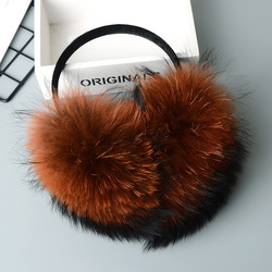 Winter Women Warm Real fox Earmuffs Girl's Earlap Ultralarge Imitation Ladie's Plush Ear Muff Raccoon plush earmuffs #2