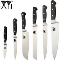 XYj 6pcs Stainless Steel Kitchen Knives Thin Sharp Blade ABS Handle Chef Bread Slicing Santoku Utility Fruit Knife Cooking Tool