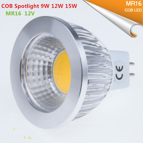 New High Power Lampada Led MR16 GU5.3 COB 9w 12w 15w Dimmable Led Cob Spotlight Warm Cool White MR16 12V Bulb Lamp GU 5.3 220V