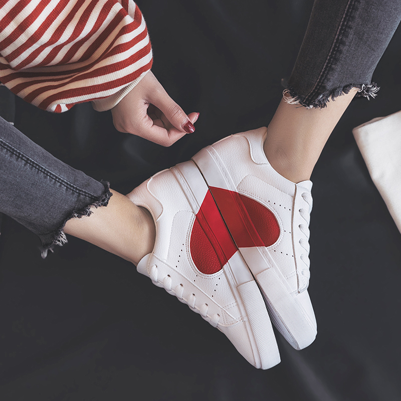 Smile Circle 2018 Spring/Summer White Sneakers Women Ultra-soft Lace-up Casual Shoes Women Flat Platform Shoes Girl Shoes A58101