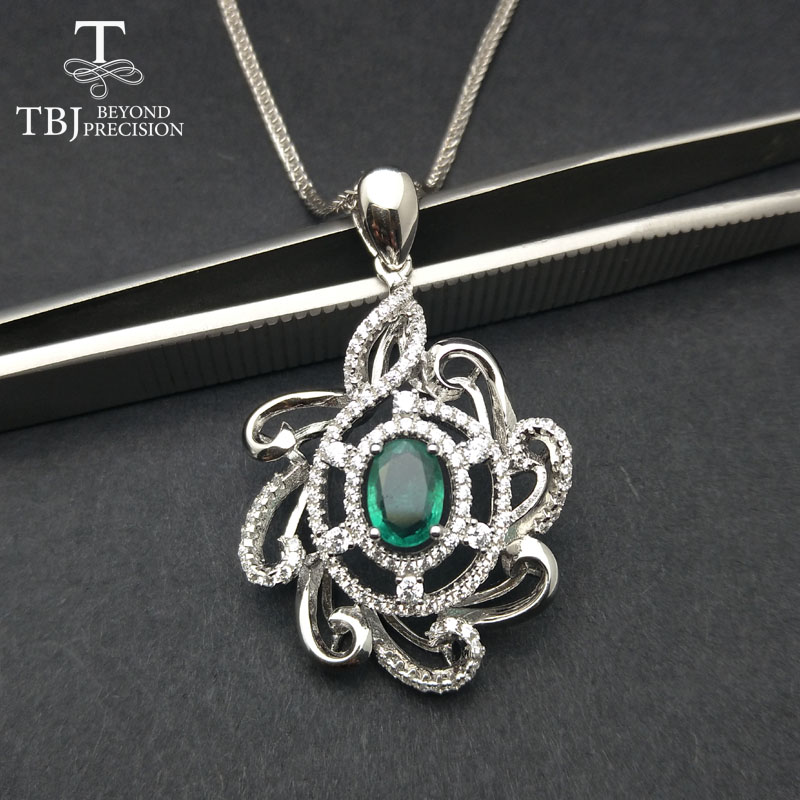TBJ,0.8ct natural emerald luxury pendant necklace in 925 sterling silver gemstone fine jewelry for women as best gift with box iji 6 5x16 5x108 et50 d63 3 black