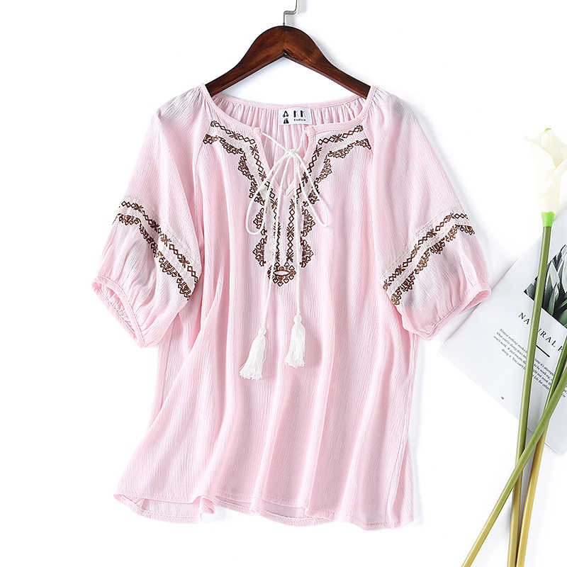 Ladies Fashion Bohemian Floral Embroidery Blouse Shirts Cotton Drawstring Half Lantern Sleeve Women Loose Summer Crop Tops