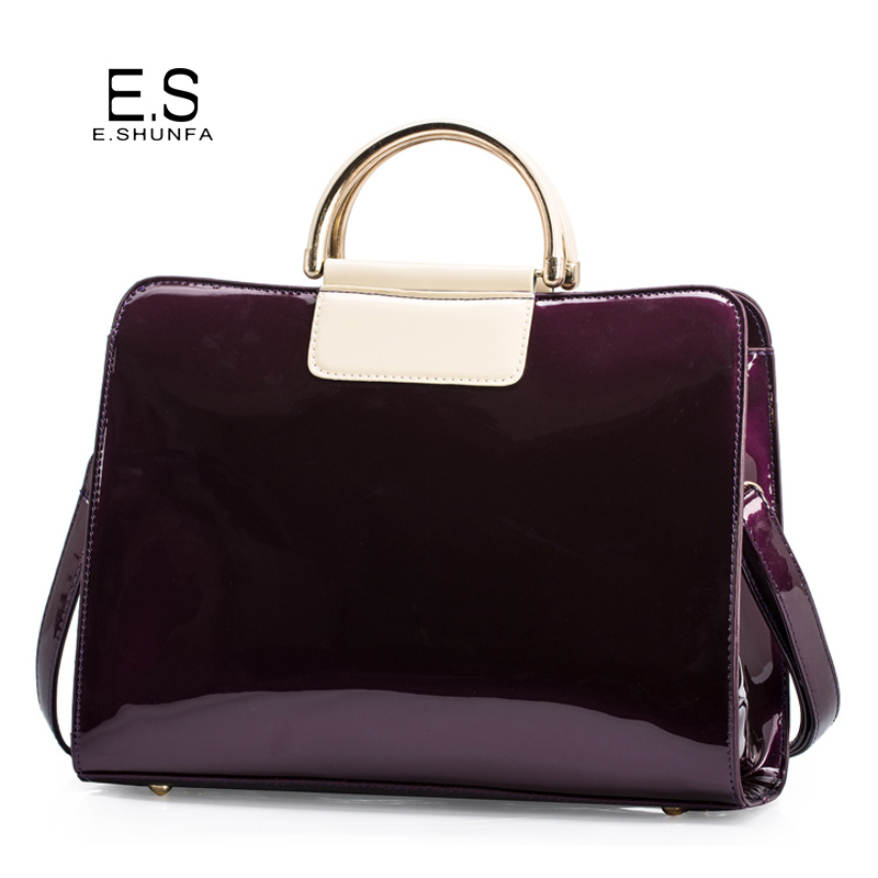 Sacs à bandoulière en cuir verni pour femmes 2018 élégant sac à main de mode sac fourre-tout femmes de haute qualité sac à bandoulière Saffiano noir