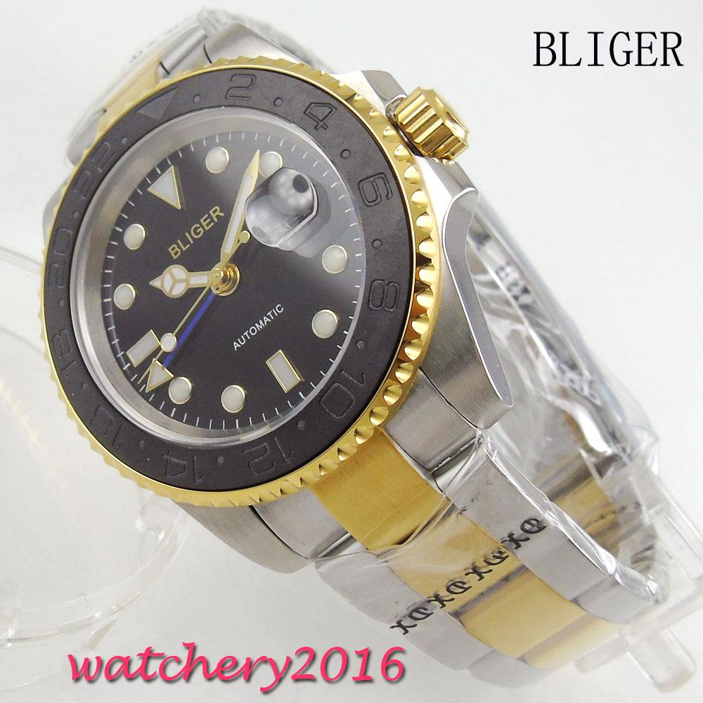 40mm Bliger Sterile black dial Luminous Hand Sapphire Crystal Deployment Clasp GMT Automatic movement Mechanical Mens Wristwatch