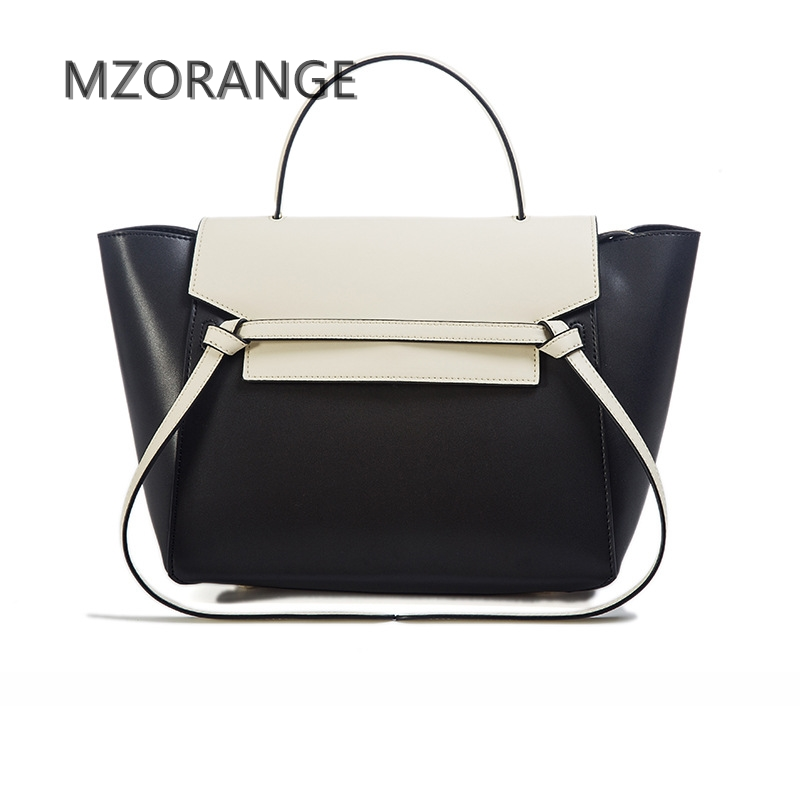 MZORANGE New design Top quality Cowhide women handbag 2017Fashion genuine leathe shoulder crossbody bags Trapeze bag casual tot classic starts around the world in 80 days