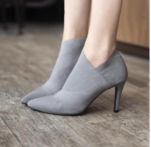 Femelle gris Mode Talons Automne Casual Singe Chaude D'hiver Pointu Bout Outwear Hauts Noir De Équipée 6960 Et Femmes Vente Chaussures Base S6wRqa