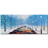 Large Size Hand Painted Blue Tree Landscape Palette Knife Oil Painting On Canvas Forest Wall Picture For Living Room Home Decor