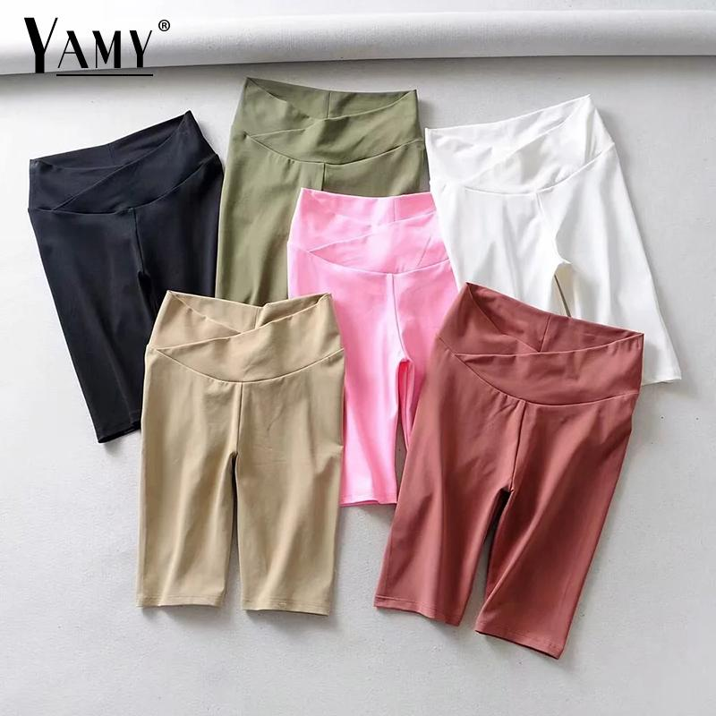 2019 Summer Vintage Cotton Solid Black Shorts Women Chic Fold High Waist Shorts Female Casual Skinny Biker Shorts Korean