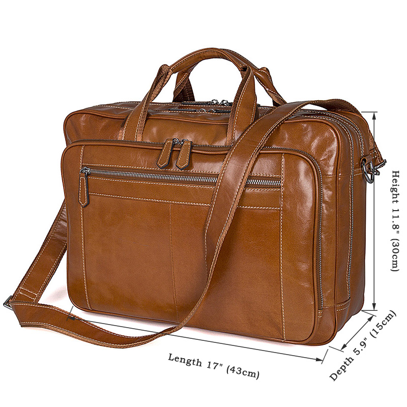 J.M.D Vintage Style Breifcase Bag For Business Men Large Capacity Business Travel Bag Trendy Handbag 17 Inch Laptop Bag 7380B