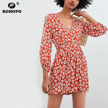 ROHOPO Long Sleeve Printed Daisy Jumpsuit Vintage Boho Belted Floral Playsuit Red Black Autumn Outfit #CW9004D