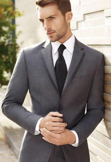Tailor Made boda gris oscuro Trajes para hombre formal novio flaco blazer ropa  de negocios marca 1c450cecb344