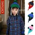 Nuevo 2016 Niños del Invierno Sombreros Calientes de Moda Bebé Niños, Además de Terciopelo espesar Caps Kids Lindo Hizo Punto el Sombrero De la Gorrita Tejida Del Oído Niñas Cap