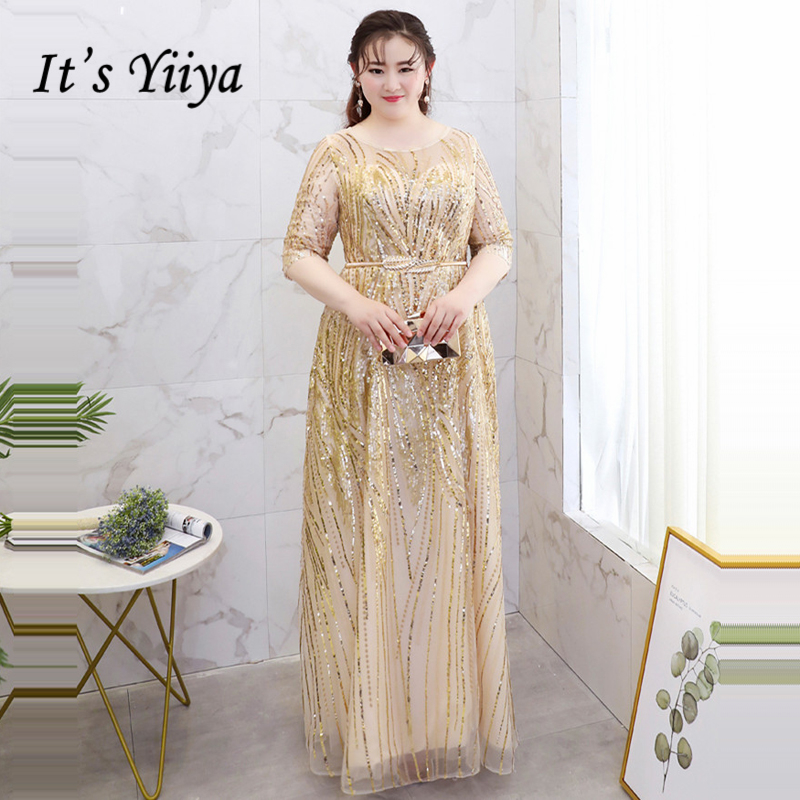 It's YiiYa   Evening     Dress   2018 Plus Size O-Neck Half sleeve Bling sequined A-Line Fashion Designer Girls Party   Dress   DM034