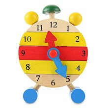 SUKIToy Kids Wooden Montessori Clock Block Number And Time Learning Toy Toys For Children With Autism Brinquedos Nice Gift(China)
