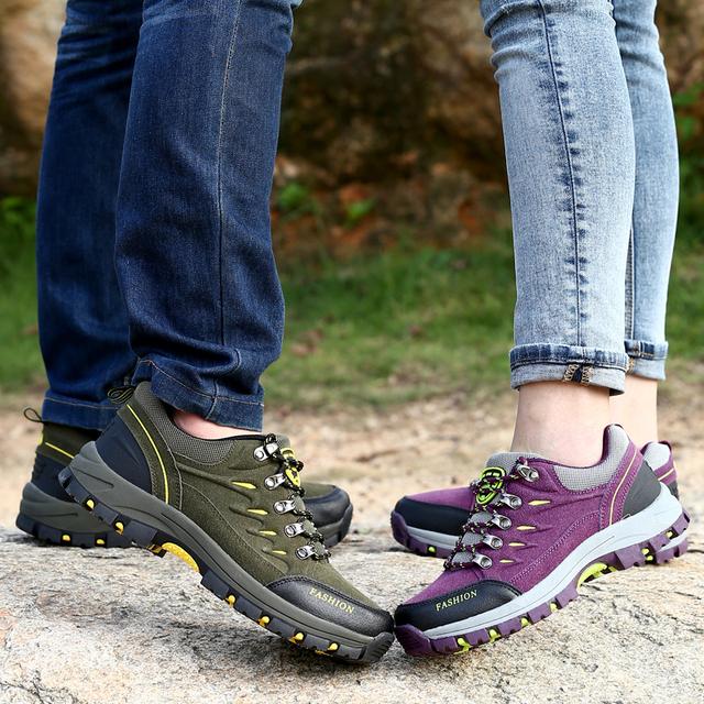 Hot outdoor waterproof slip resistant comfortable men women hiking shoes unisex sneakers autumn winter lace-up climbing shoes