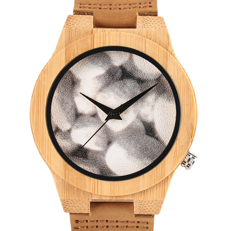 KW Fashion Women Men Watches Bamboo Wood Case with Leather Strap Quartz Analog Minimalist Watch Gifts Handmade Round Clock