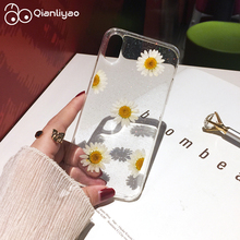 Qianliyao Real Daisy Dried Flowers phone case For iphone X XS Max XR 6 6s 7 8 plus cases Soft TPU Back Cover Cute Coque Capa