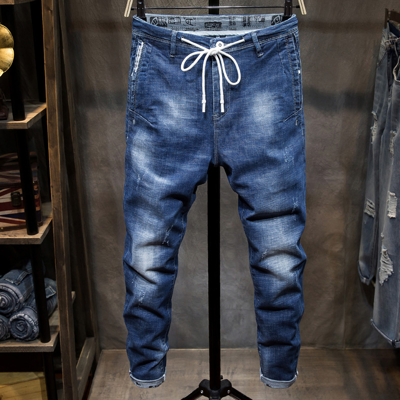 Blue Drawstring Jeans Mens Fashion Casual Men Jeans Pure Color Nine Points Pants Men Lacing Control Size 28 36