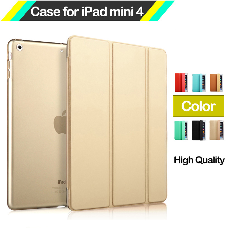 Ultra Thin Slim Light Weight Smart Case for iPad mini 4 Three Fold PU Leather and Back Cover with Stand Sleep / Wake up Function 20 5cm stylish pu leather case for ipad mini1 2 smart stand magnetic sleep wake ultra thin up pouch cover colorful