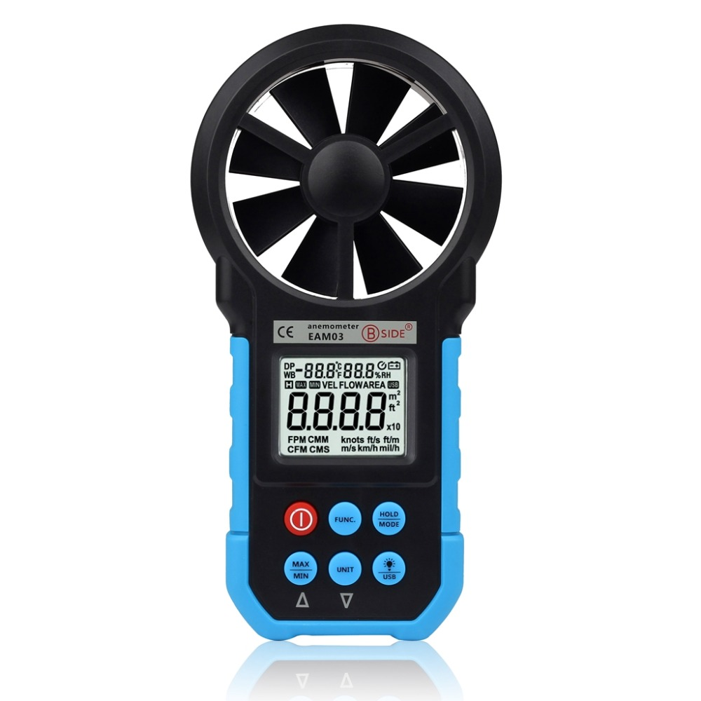 BSIDE EAM03 Digital Anemometer Wind Speed Air Volume Measuring Meter Temperature Humidity Tester LCD Display with USB mastech ms6252b digital anemometer air volume ambient temperature humidity with usb temperature and humidity display