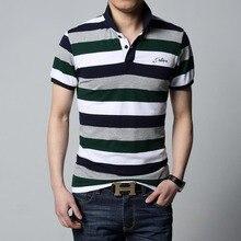 2018 New Arrival T-shirt Men Stripe Lapel Shirt Slim Fit Men Men's Casual T-shirt Plus Size Men Tshirt Size M-5XL Ctoon Tees 5XL