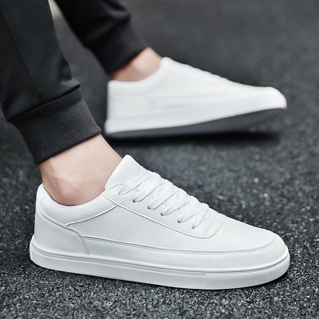 81be3e16aa9a White Leather Sneakers Men Casual Flat Shoes Lace Up Round Toe Low Sneaker  Breathable Lightweight Outdoor