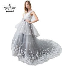 2017 Robe De Mariage Mariee Princesa Gray Ball Gown Wedding Dresses Sexy Illusion Back Handmade Flowers Bridal Gown Real Photo