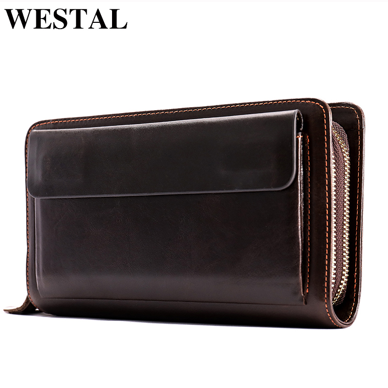 WESTAL Clutch Male Double Zipper Money Clip Wallet Men Clutch Bag Genuine Leather Men Wallets Phone Leather Man Wallet Long 9069 fasiqi crocodile leather wallet soft skin fashion man wallet long wallet multi card money clip hand bag male business leather