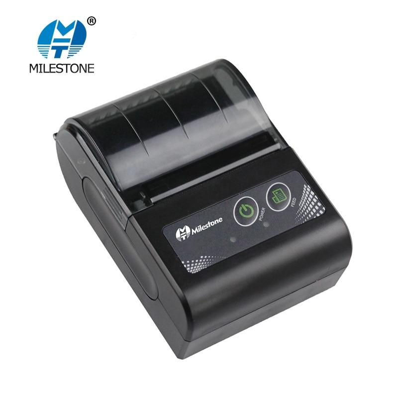 Milestone Bluetooth Printer Wireless Receipt Bill Thermal Printer 58MM Mini Portable Pocket For Windows Android IOS MHT-P10