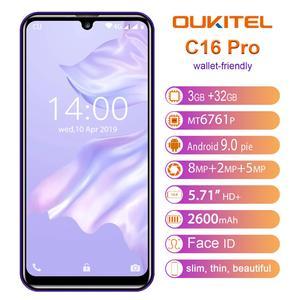 Image 1 - OUKITEL C16 Pro C16pro 4G LTE Smartphone 3 + 32 GB Quad Core Del Telefono Mobile MTK6761P 5.71 pollici Del Cellulare 2600mAh Viso ID Android 9.0
