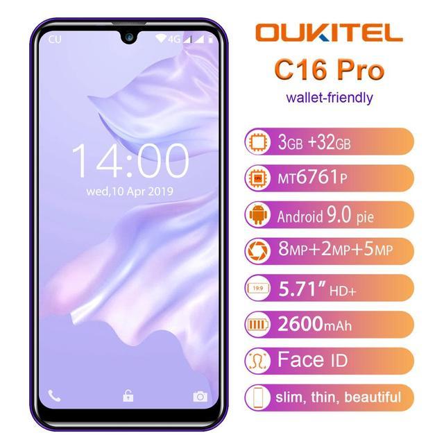 OUKITEL C16 Pro C16pro 4G LTE Smartphone 3 + 32 GB Quad Core Del Telefono Mobile MTK6761P 5.71 pollici Del Cellulare 2600mAh Viso ID Android 9.0