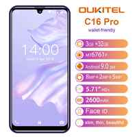 Oukitel c16 pro c16pro 4g lte smartphone 3 + 32 gb quad core telefone móvel mtk6761p 5.71 polegada celular 2600 mah face id android 9.0
