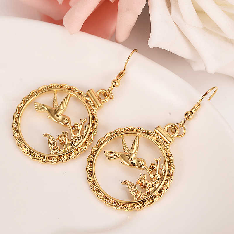 gold drop Earrings round pendant animal bird Earrings for Girls Women Fashion Earrings Bijoux gifts charms  mother gift