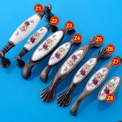 5 шт. Винтаж Керамика кабинета ручки Китай цветок Мебельная фурнитура и ручка ...