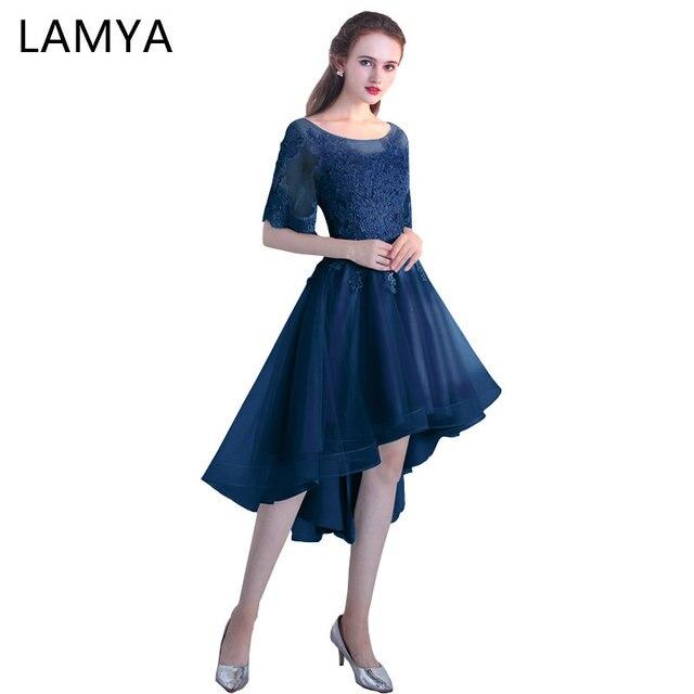 1ae98198dace Lamya Sexy High Low Elegant Prom Dresses Princess Cusomized vestido de  festa Lace Short Front Long Back Special Occasion Dresses