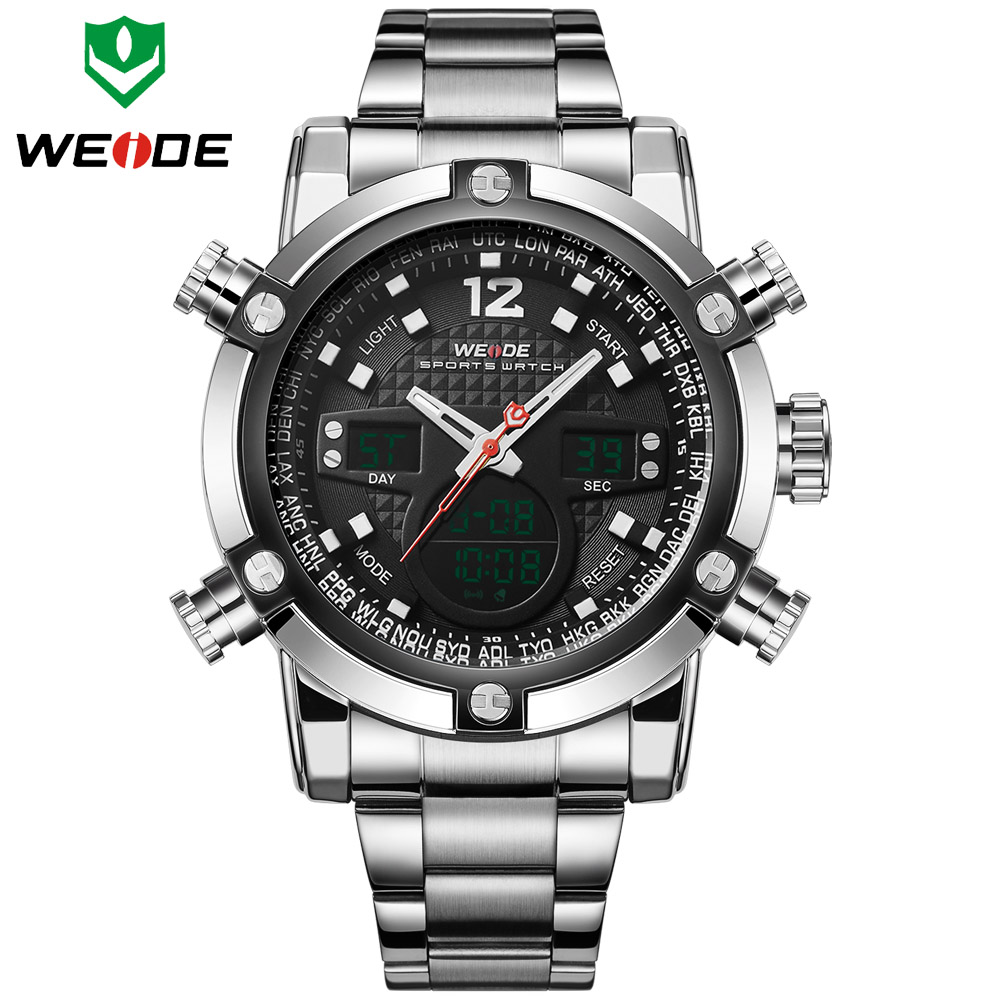 Watches Men Luxury Brand WEIDE Sports Full Steel Watch Men's Digital Quartz Clock Man Army Military Wristwatch relogio masculino weide 2017 new men quartz casual watch army military sports watch waterproof back light alarm men watches alarm clock berloques