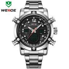 Relojes hombres lujo de la marca weide reloj deportivo de acero lleno de los hombres digital cuarzo reloj hombre militar del ejército reloj de pulsera relogio masculino